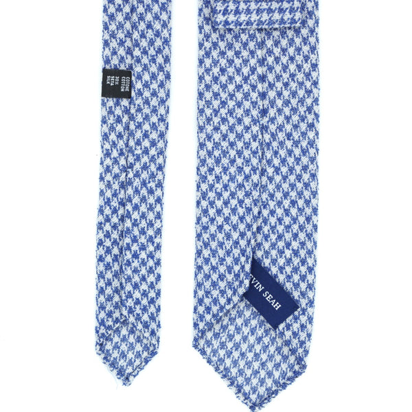 Blue and Grey Houndstooth Cotton Silk Tie