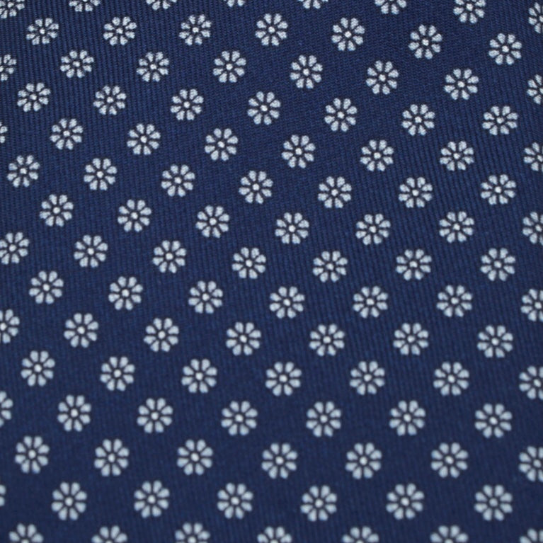 Navy Floral Patterned Silk Tie