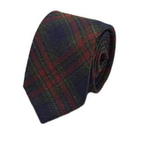 Navy Check Silk Wool Tie