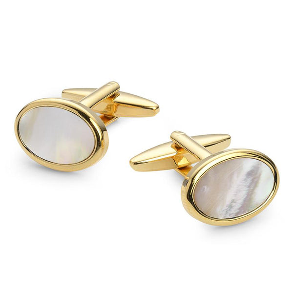 OVAL MOTHER OF PEARL GOLD PLATED CUFFLINKS