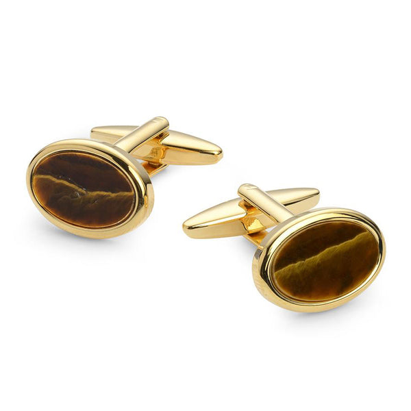 OVAL TIGER EYE GOLD PLATED CUFFLINKS