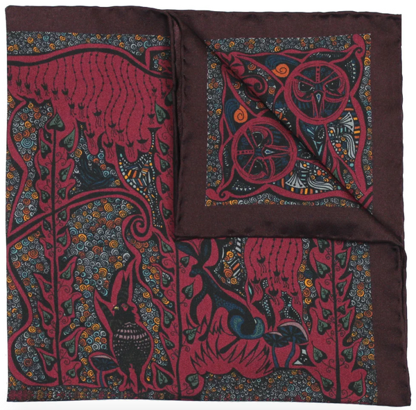 Burgundy Silk Pocket Square - Enchanted Forest Pheasant