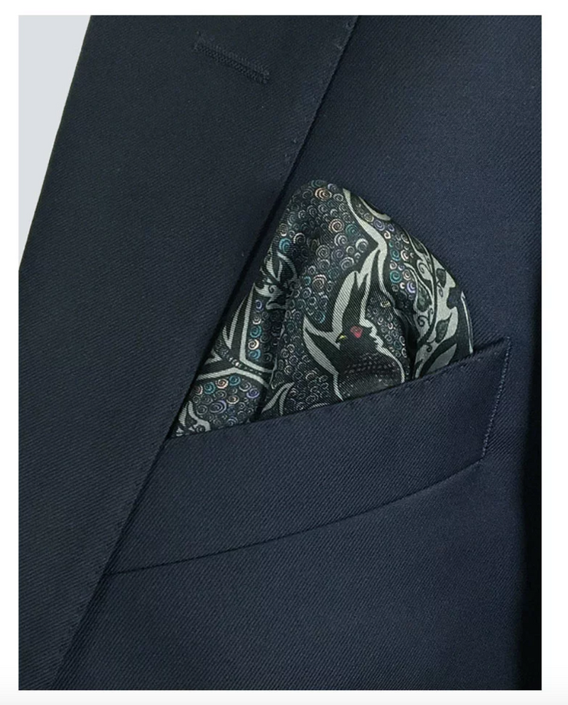 Silver Silk Pocket Square - Enchanted Forest Pheasant