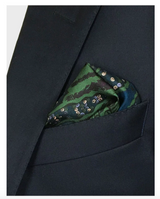 Green Silk Pocket Square - Enchanted Forest Stag