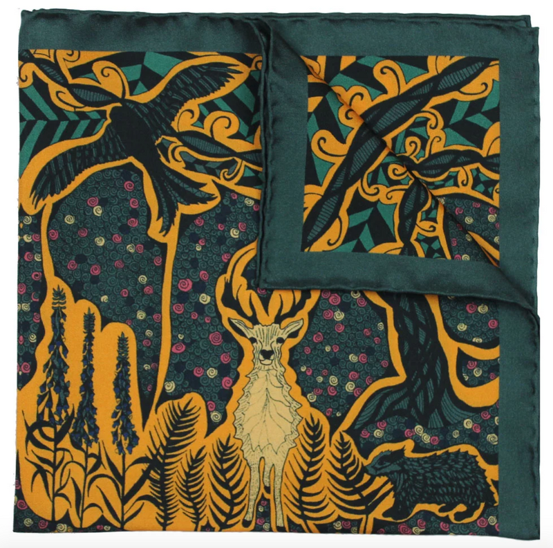 Mustard Silk Pocket Square - Enchanted Forest Stag