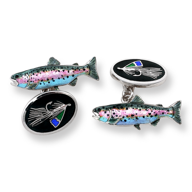 TROUT & FLY FISHING STERLING SILVER CUFFLINKS