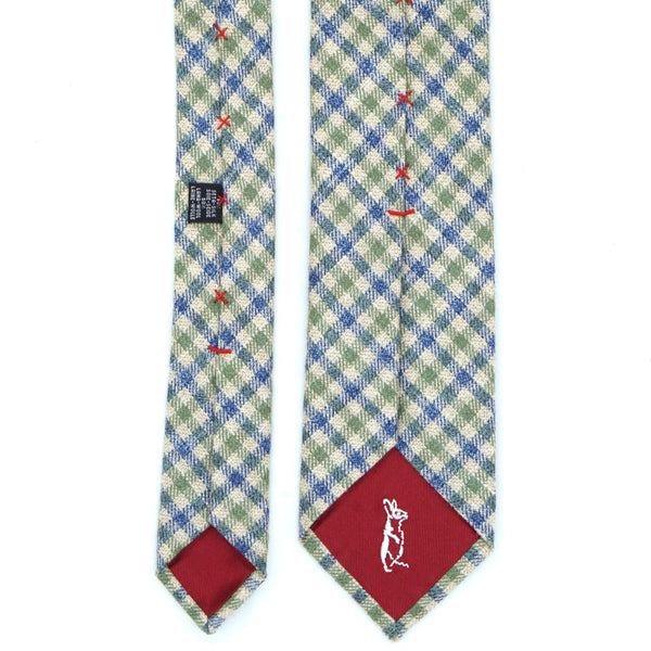 Blue and Green Gun Club Check Silk Wool Tie