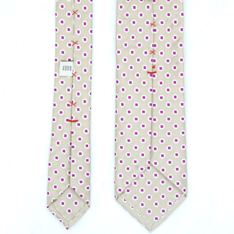 Beige and Purple Spotted Silk Tie