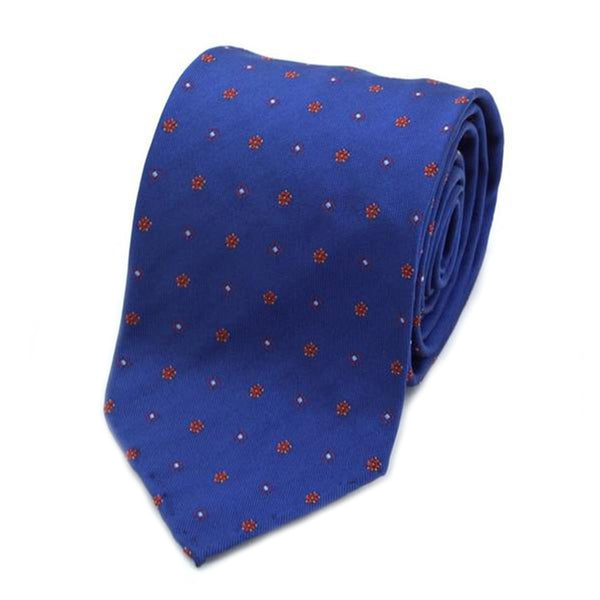Blue and Red Floral Patterned Silk Tie