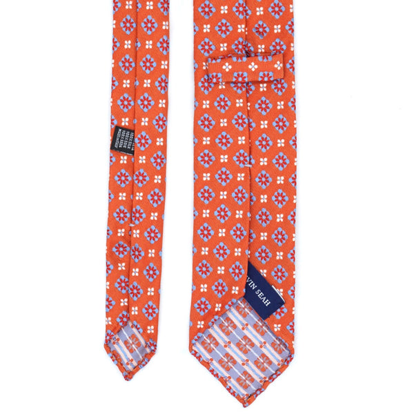 Orange and Blue Floral Patterned Silk Tie