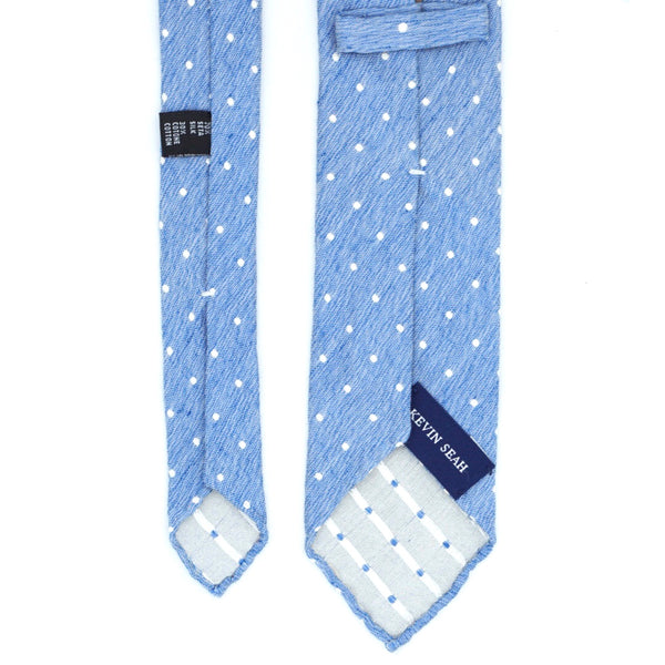 Blue Polka-Dot Silk Cotton Tie