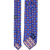 Blue and Orange Floral Patterned Silk Tie