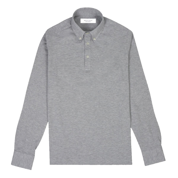 Ash Grey Cotton Pique Long Sleeved Polo Shirt (Made to order)