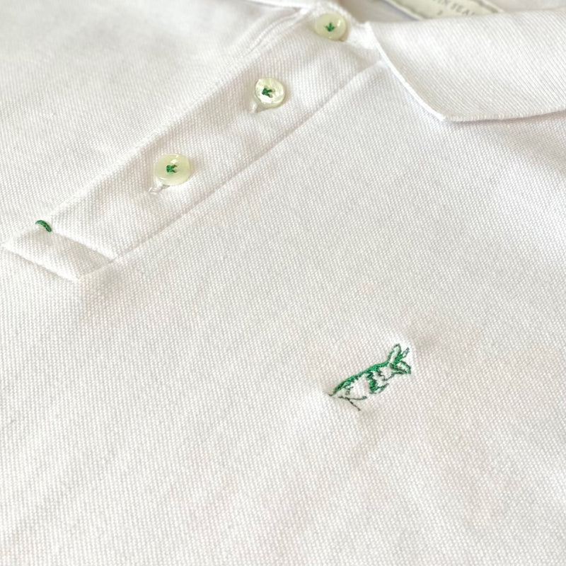 The Classic Kevin Seah Polo Shirt (White / Green Logo)