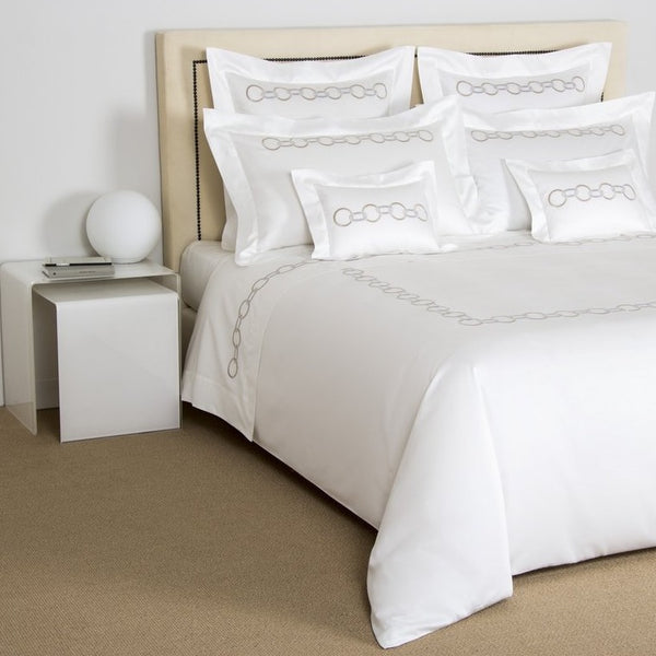 Savage Beige / Grey Links Embroidery Duvet Cover Set