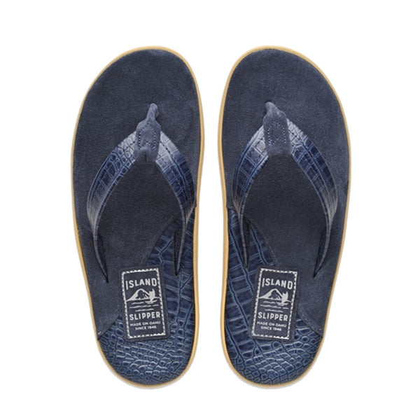 Iris Barc/Navy Suede Two Tone Leather Thong Sandal
