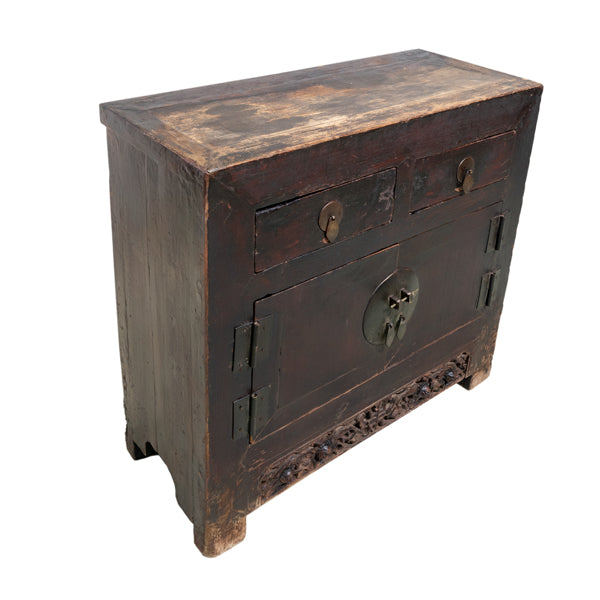 Wooden Medium Cabinet with Lion Carvings