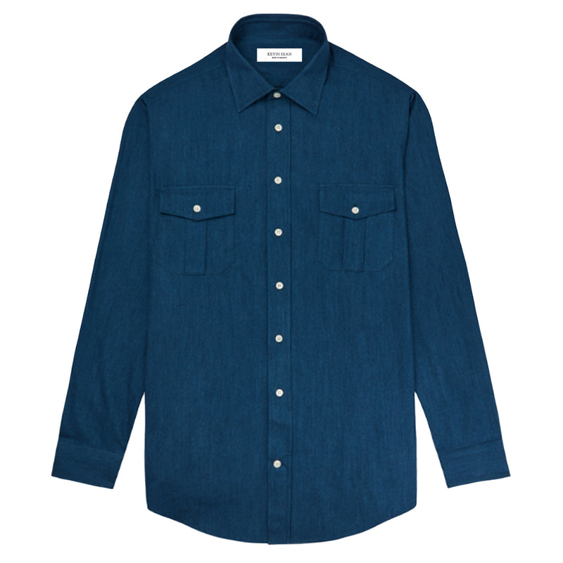 2 Pocket Denim Long Sleeved Shirt (Made to order)