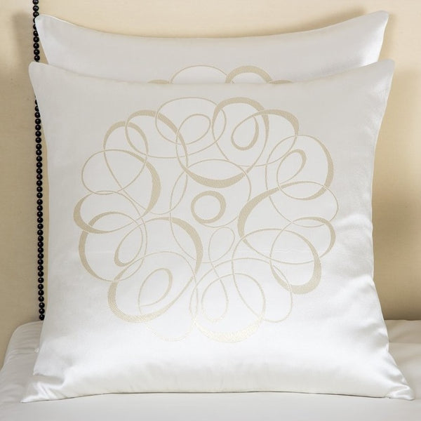 Milk / Gold Luxury Sparkling Swirl Cushion Cover