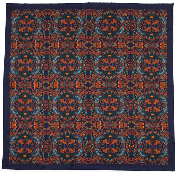 Blue Silk Pocket Square - Labyrinth