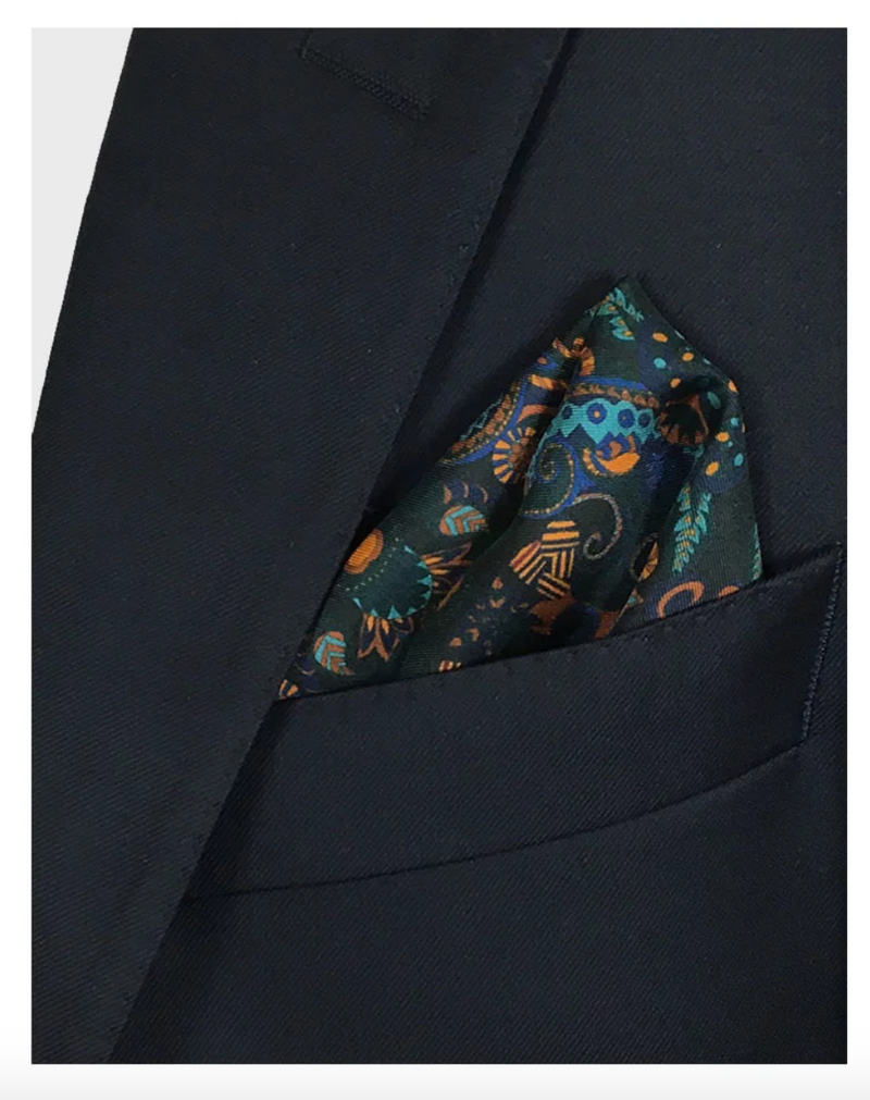 Forest Green Silk Pocket Square - Labyrinth