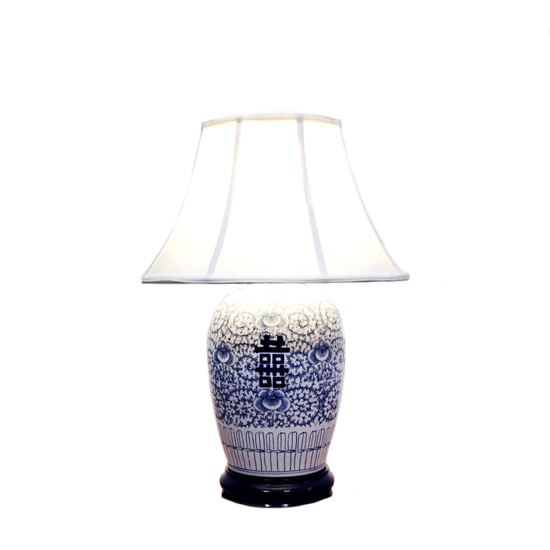 Round porcelain table lamp with double happiness pattern