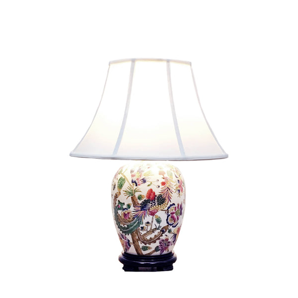 Porcelain table lamp with colourful phoenix & flowers