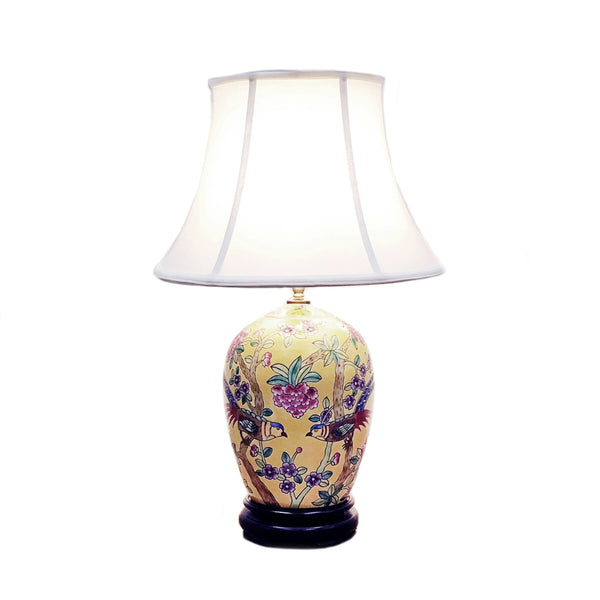 Porcelain table lamp with colourful birds & flowers