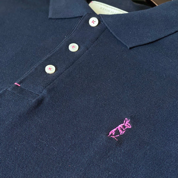 The Classic Kevin Seah Polo Shirt (Navy / Magenta Logo)