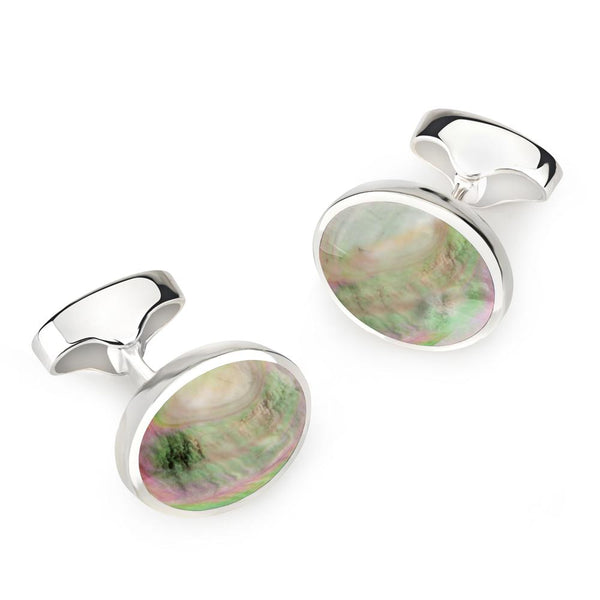 STERLING SILVER OVAL CUFFLINKS WITH BLACK LIP PEARL