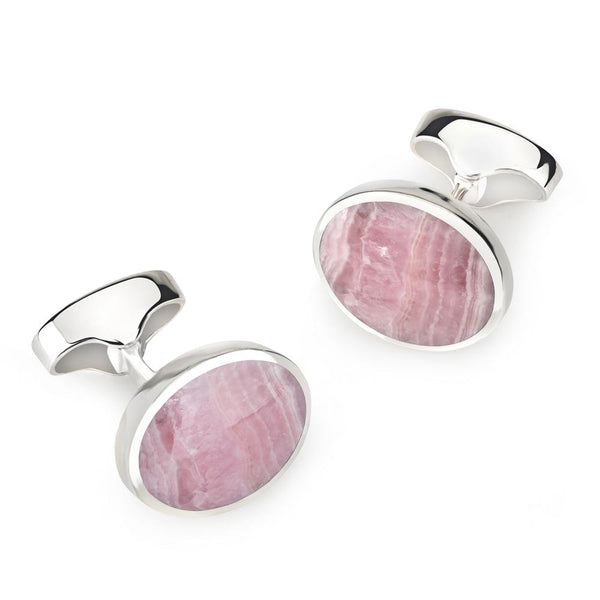 STERLING SILVER OVAL CUFFLINKS WITH RHODOCHROSITE