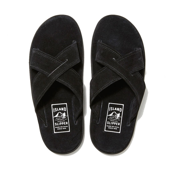 Black Suede Criss Cross Slide