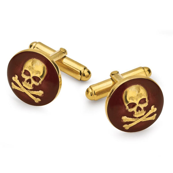 SKULL & CROSSBONES (RED) BUTTON CUFFLINKS