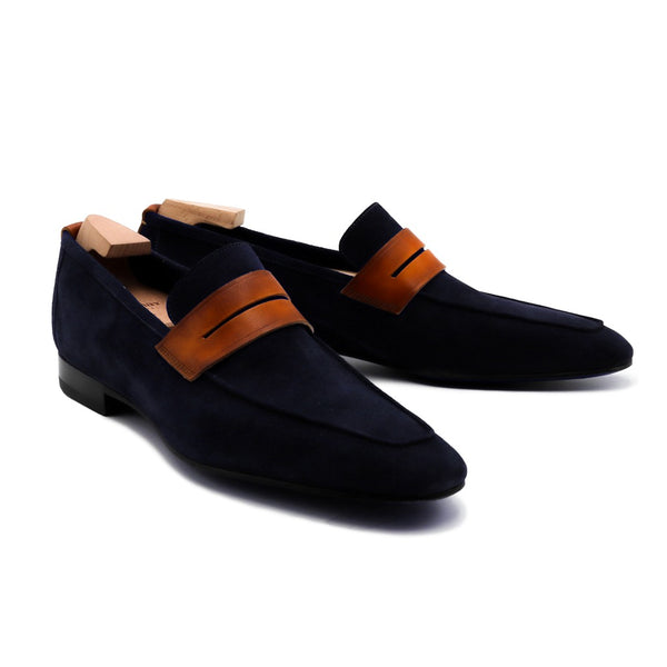 Navy Tahiti Suede Loafers