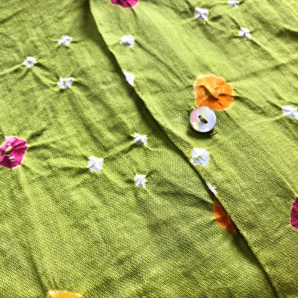 Lime Green Shibori Short Sleeved Shirt