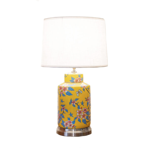 Round ceramic table lamp with floral designs