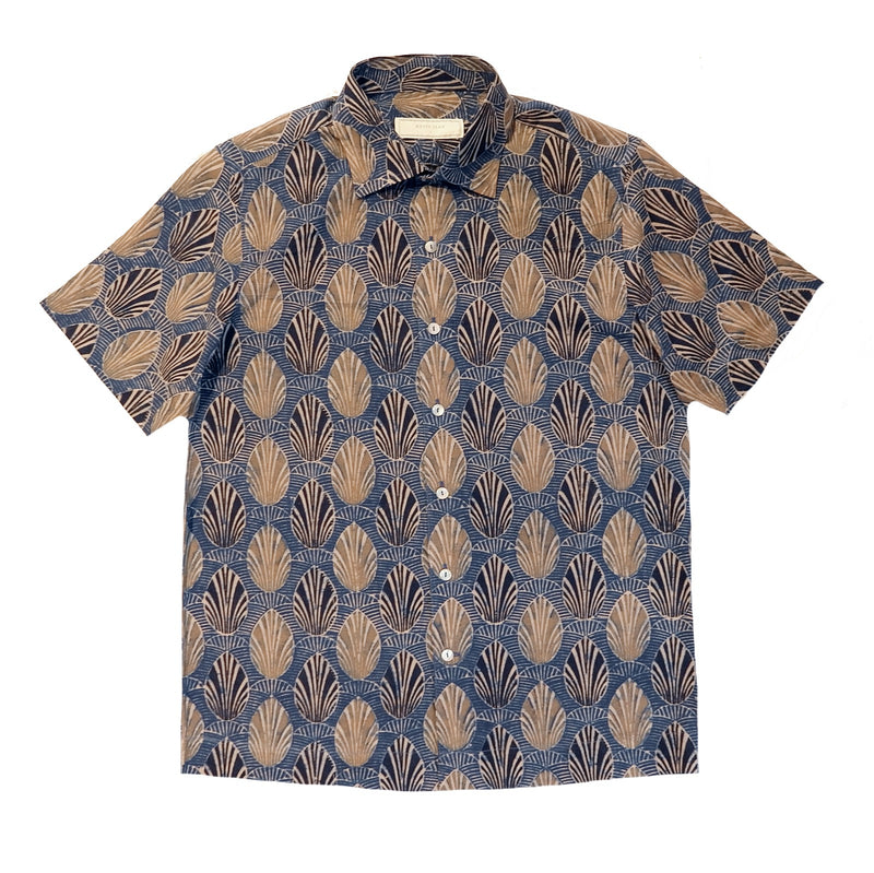 Indigo Block Print Short Sleeved Shirt