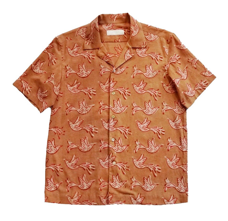 Rust Block Print Short Sleeved Shirt