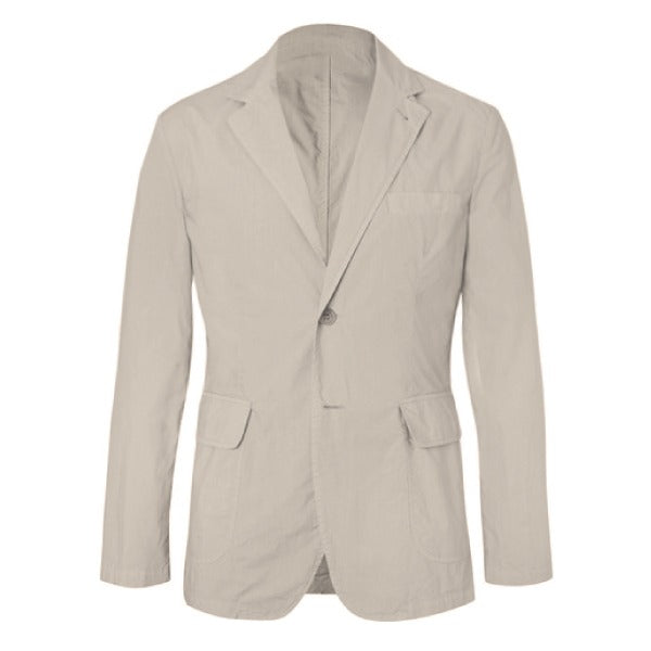 Beige Cotton Unstructured Jacket (Made to Order)