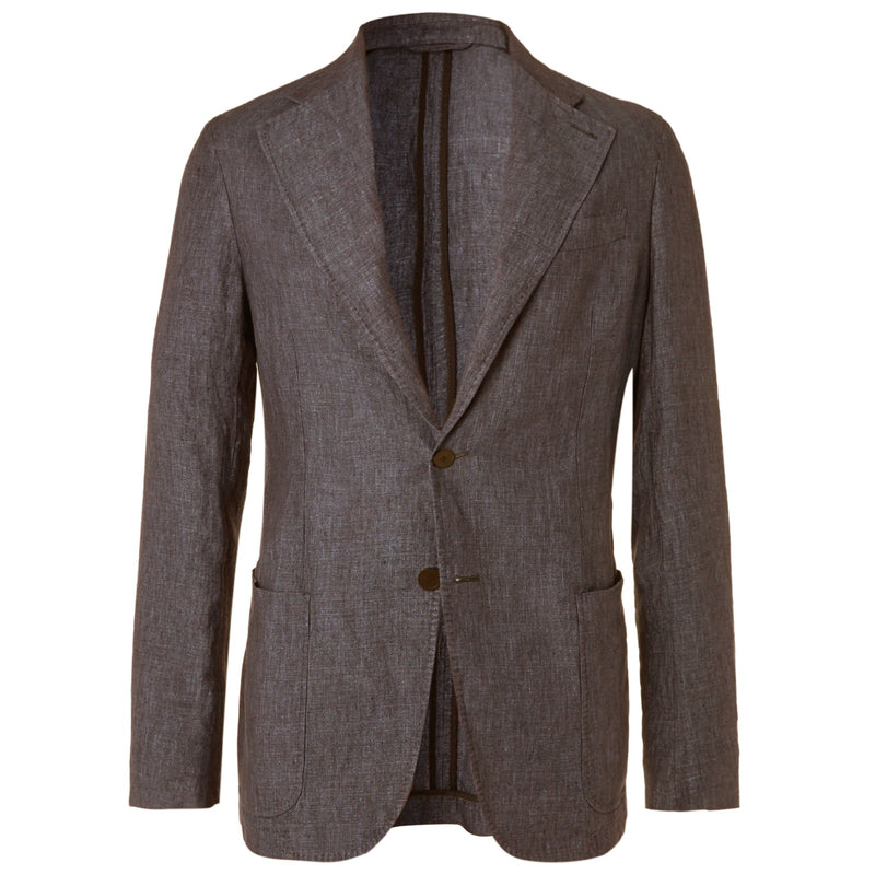 Brown Linen Unstructured Jacket (Made to Order)