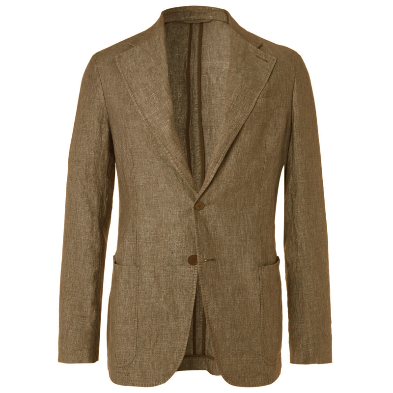 Tobacco Linen Unstructured Jacket (Made to Order)