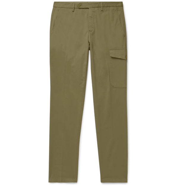 Army Green Cotton Single Pocket Cargo Chinos (Made to Order)