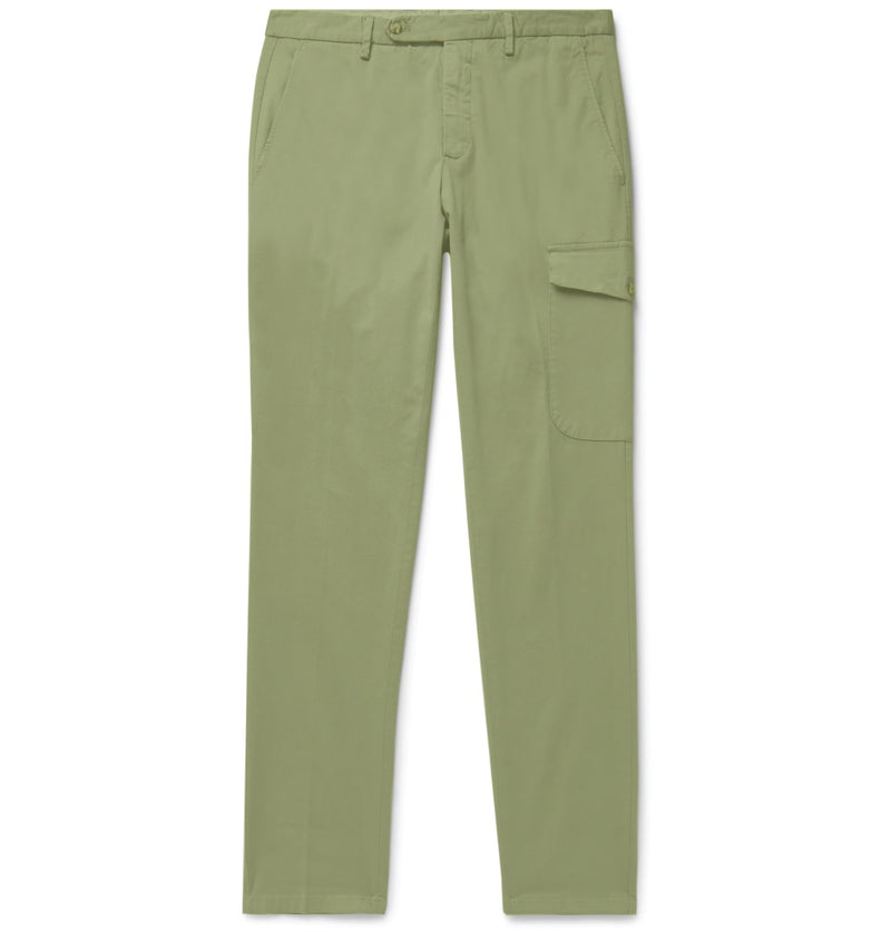 Olive Cotton Single Pocket Cargo Chinos (Made to Order)