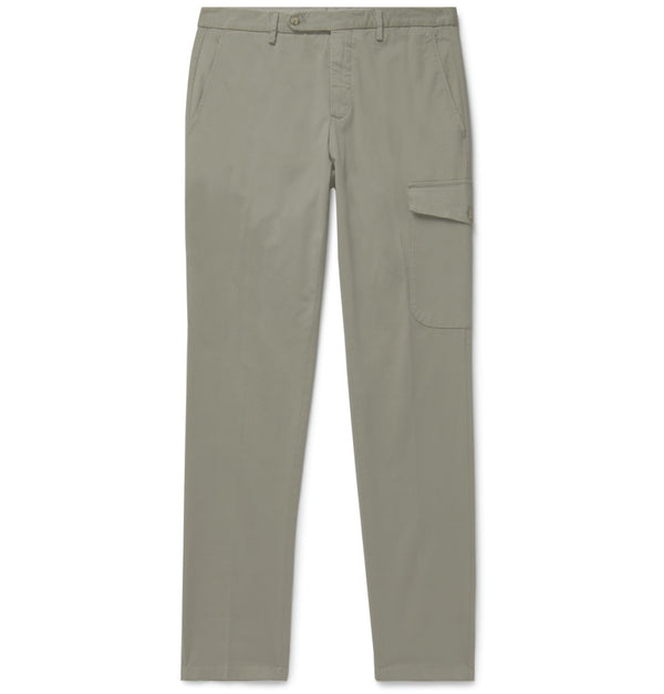 Khaki Cotton Single Pocket Cargo Chinos (Made to Order)