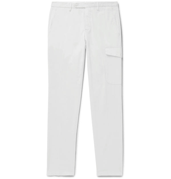 White Cotton Single Pocket Cargo Chinos (Made to Order)