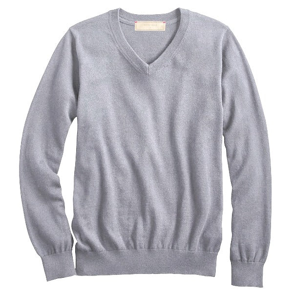 Heather Grey Cotton Cashmere V- Neck Sweater