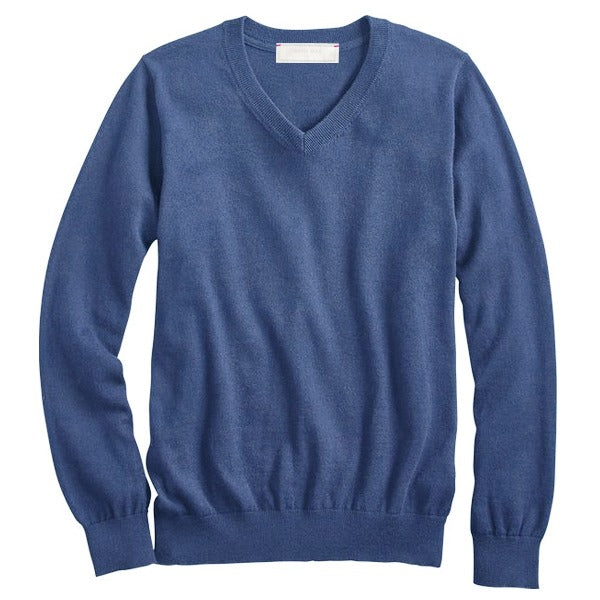 French Navy Cotton Cashmere V-Neck Sweater