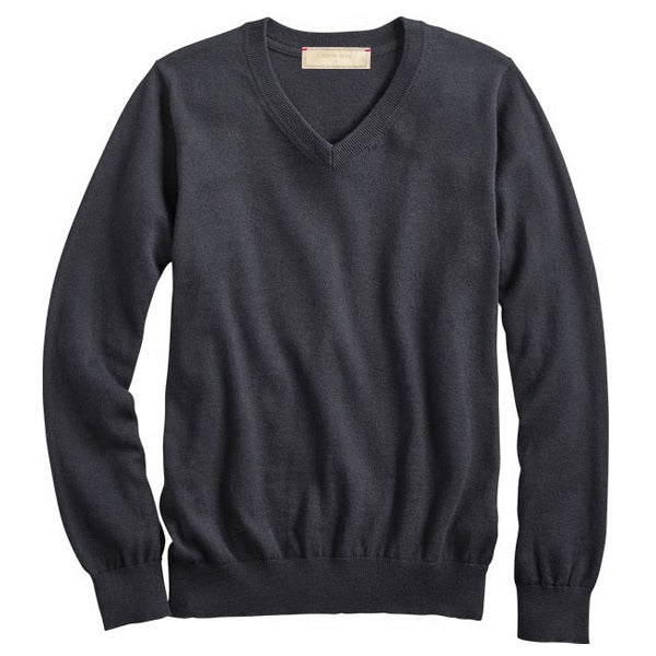 Charcoal Cotton Cashmere V- Neck Sweater
