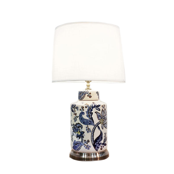 Cylindrical ceramic table lamp with blue & white paisley print
