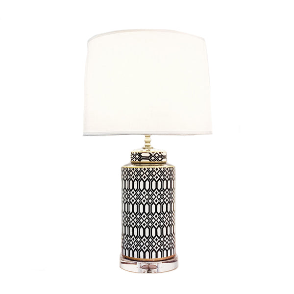 Cylindrical ceramic table lamp with geometric patterns